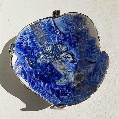 Blue & Platinum Butterfly Decorative Bowl