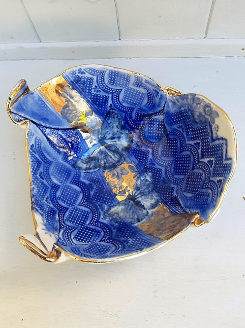 Blue & Gold Butterfly Decorative Bowl