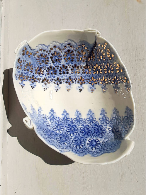 Large Blue Lace Storage Bowl with Precious Metal