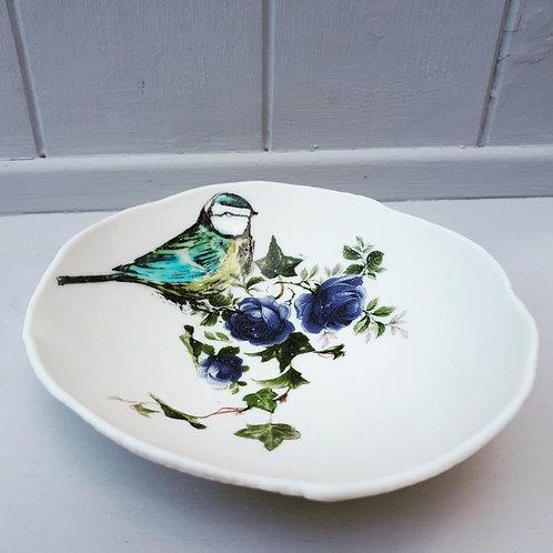 Blue Tit Floral Storage Bowl
