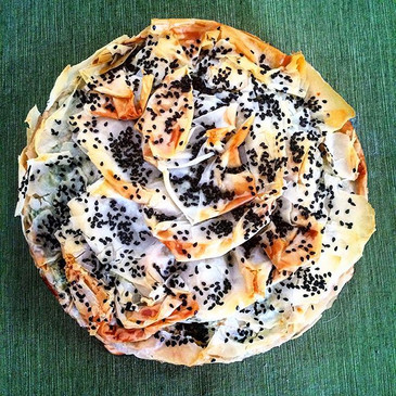 Bourekas pie with cheese and spinach