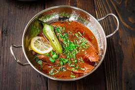 Tunisian Chraime, white fish in red spicy sauce