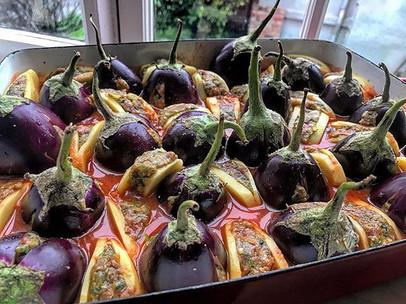 Stuffed eggplant and potatos with beef patties