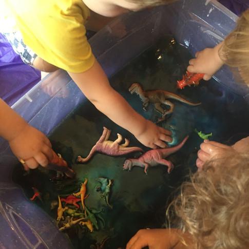 Fizzing rainbow + dinosaurs