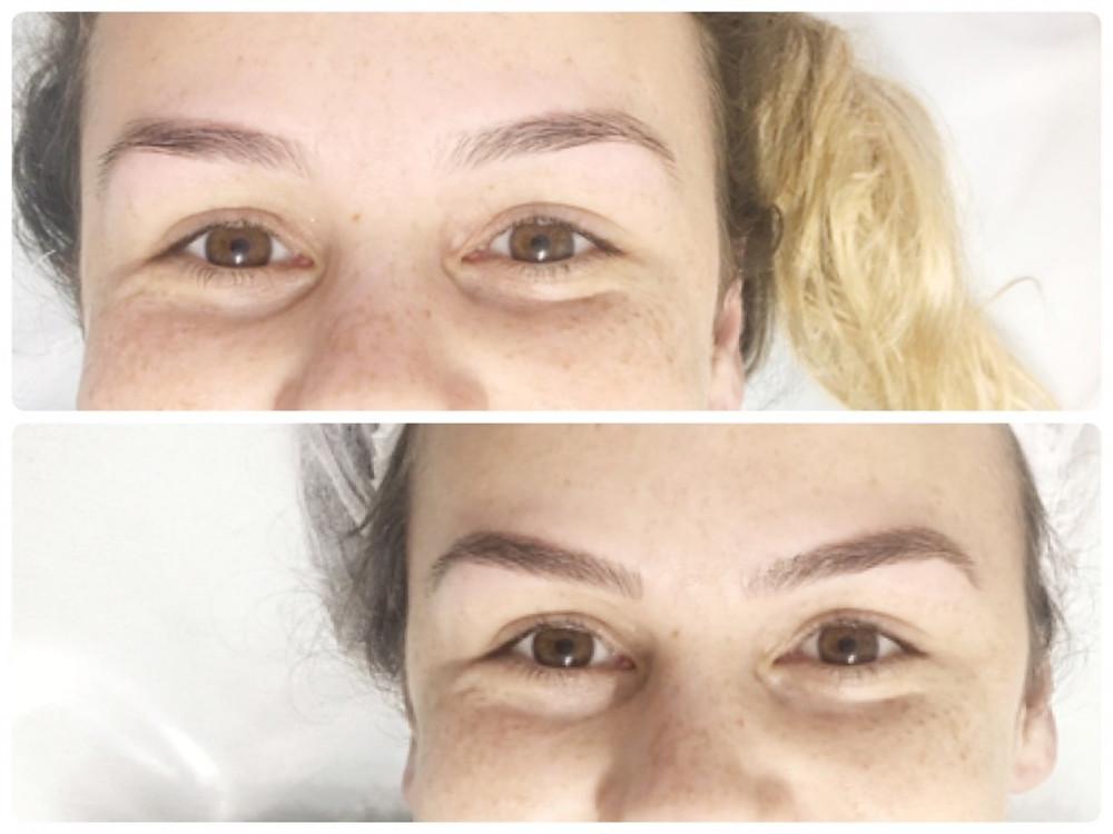Antes e depois do Microblading de Sobrancelhas Loiras por Priscila Iwama
