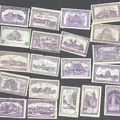 Purple set of all 20 building stamps