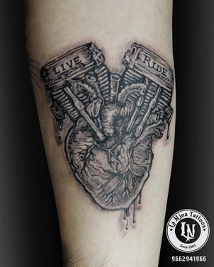 Biker's heart tattoo | La Nina Tattoos | Best tattoo studio in ahmedabad| Best tattoo artist | Gujarat | India