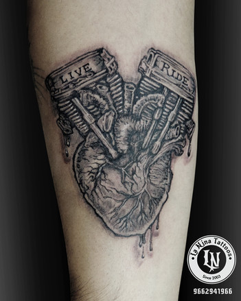 Biker's heart tattoo | La Nina Tattoos | Best tattoo studio in ahmedabad| Best tattoo artist | Gujarat | India