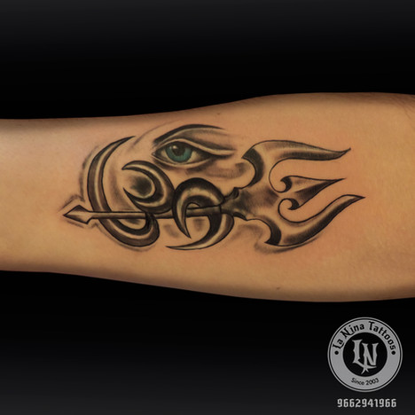 Cover up Trishul with om tattoo | La Nina Tattoos | Best tattoo studio in ahmedabad| Best tattoo artist | Gujarat | India
