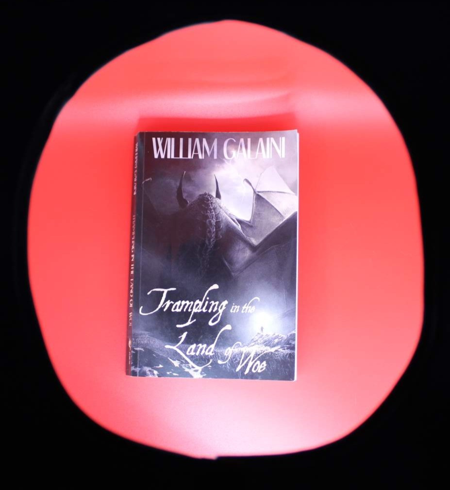 The book Trampling in the Land of Woe by William Galaini is posed in front of a red background. The image in peering down at the book through a hole in a dark surface.