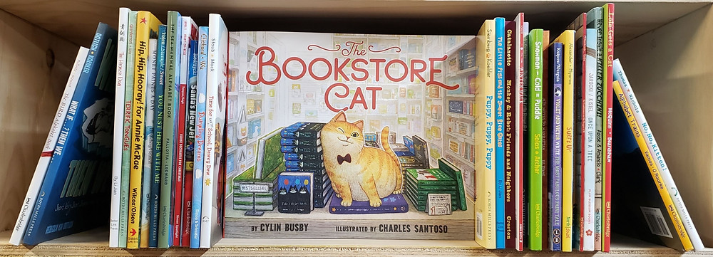 The Bookstore Cat by Cylin Busby and Charles Santoso sits on a bookshelf facing outward with book spines of other children's books on either side.