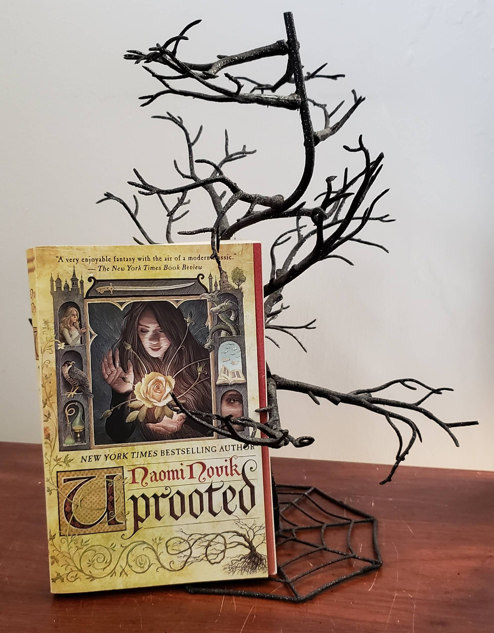 The book Uprooted by Naomi Novik posed with a black skeletal tree.