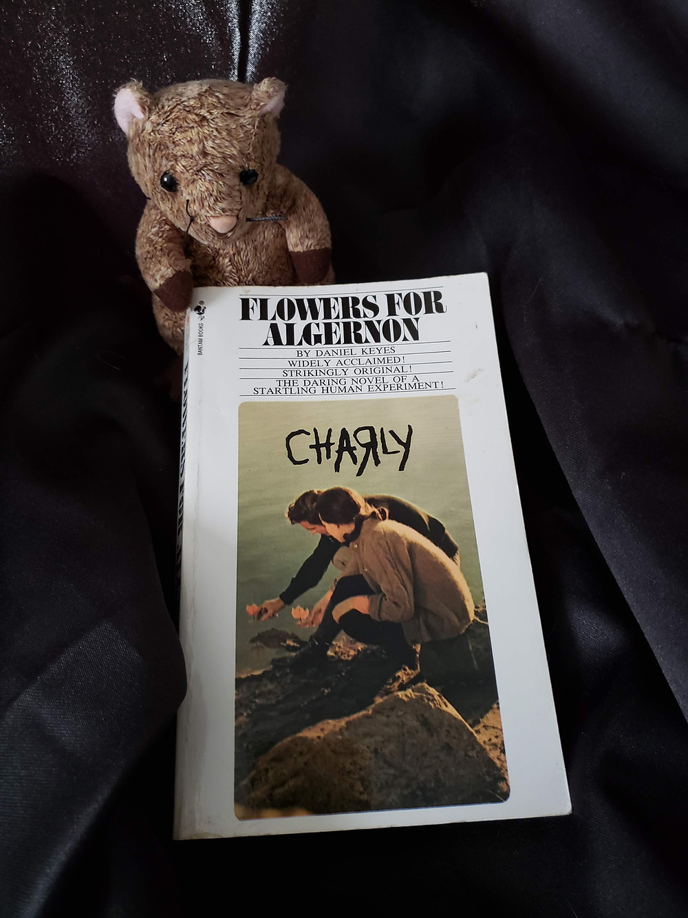 The book Flowers for Algernon by Daniel Keyes posed on a black cloth with a Mouse stuffed animal holding the top left corner of the book.
