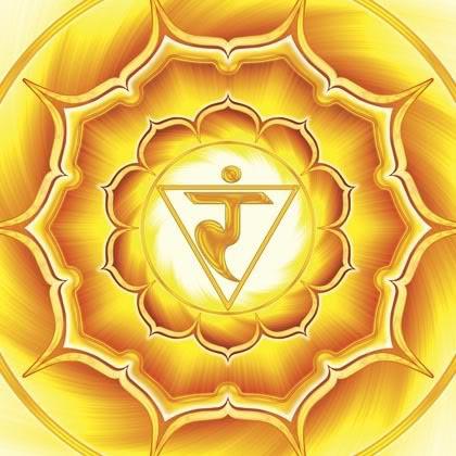 A bright yellow symbol of third chakra