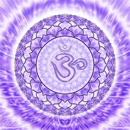 Om symbol surrounded by glowing purple circles