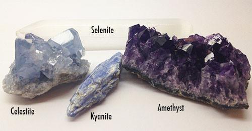 Celestite, Selenite, Kyanite, and Amethyst gemstones