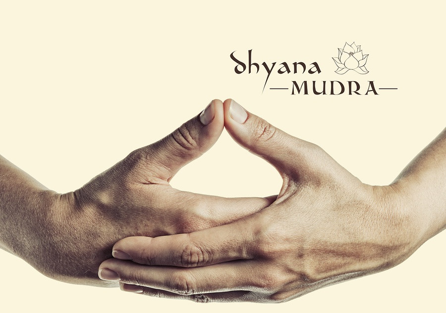 Dhyana hand gesture for yoga pose