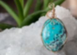 14k gold filled wire wrap chrysocolla pedant