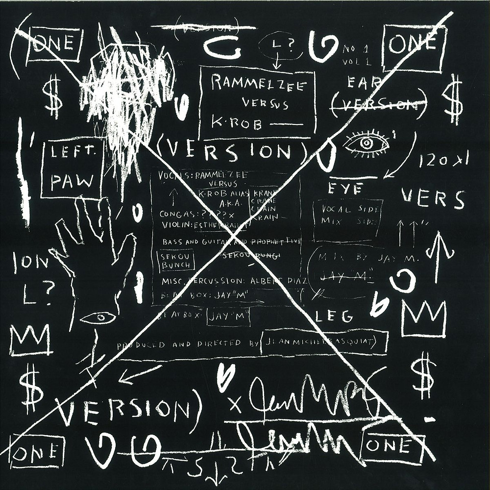 """Jean-Michel Basquiat, another New York street artist also designed record covers. This one from 1983 is the cover for Rammellzee vs. K-Rob's """"Beat Bop"""" 12""""."""