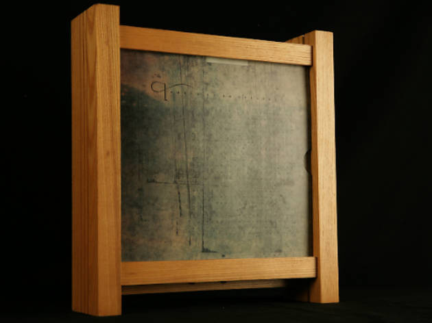 """Vaughan Oliver's wooden box design for 4AD's 1987 release """"Lonely Is an Eyesore""""."""