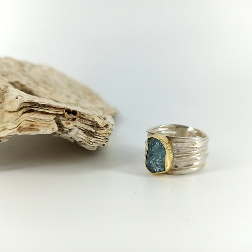 Silver & Gold Ring with Aquamarine