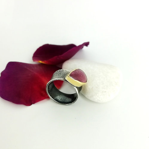 Silver & Gold Ring with Gemstone