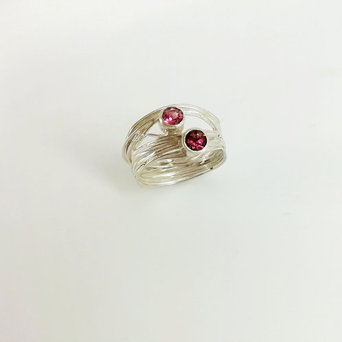 Twisting ring silver with Tourmaline