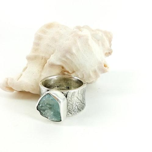 Ring with rough Aquamarine