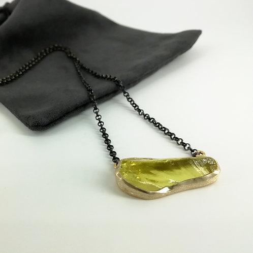 Necklace with artistic pendant Lemon quartz