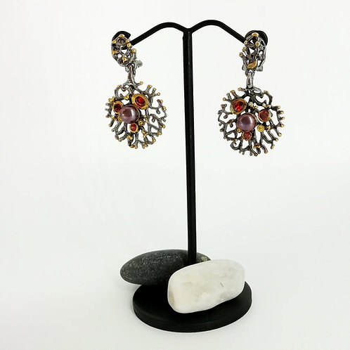 Silver & Gold earrings with Gemstone