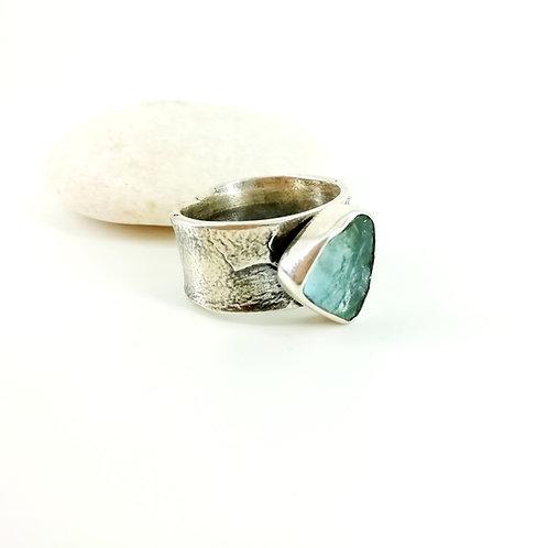 Art silver ring  with Aquamarine