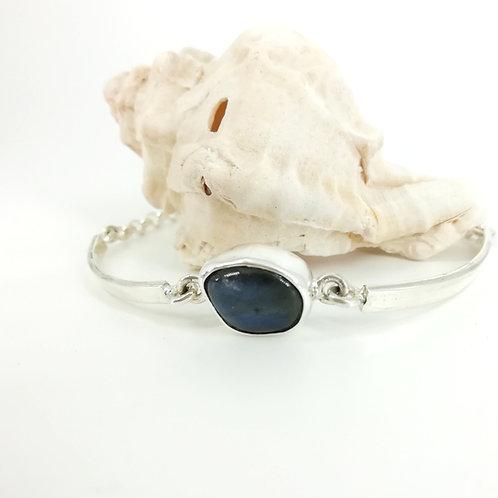 Silver bracelet with Labradorite