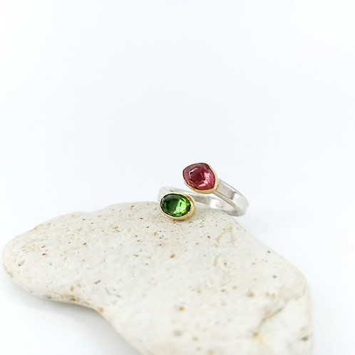 Silver & Gold Ring with Tourmaline