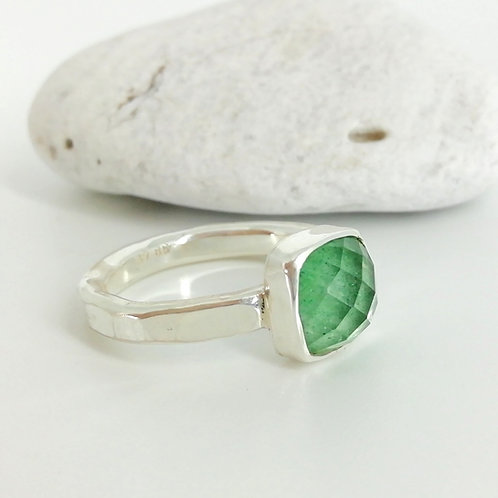 Silver ring handmade with doublet stone