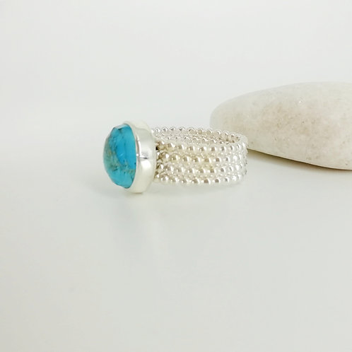 Silver ring with Copper Turquoise Doublet