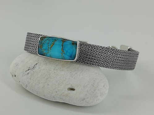 Silver bracelet with Copper Turquoise Doublet stone