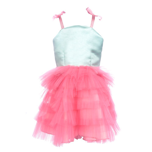 Pink fizz tulle layered dress
