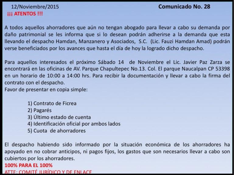 Comunicado Ficrea 28