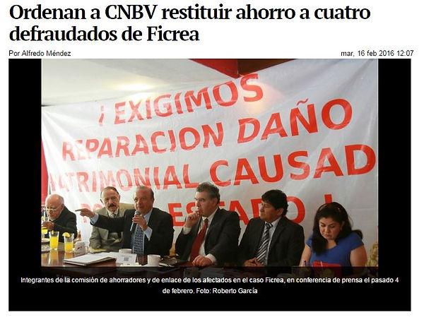 Ordena A CNBV restituir ahorro a los ahorradores de FICREA