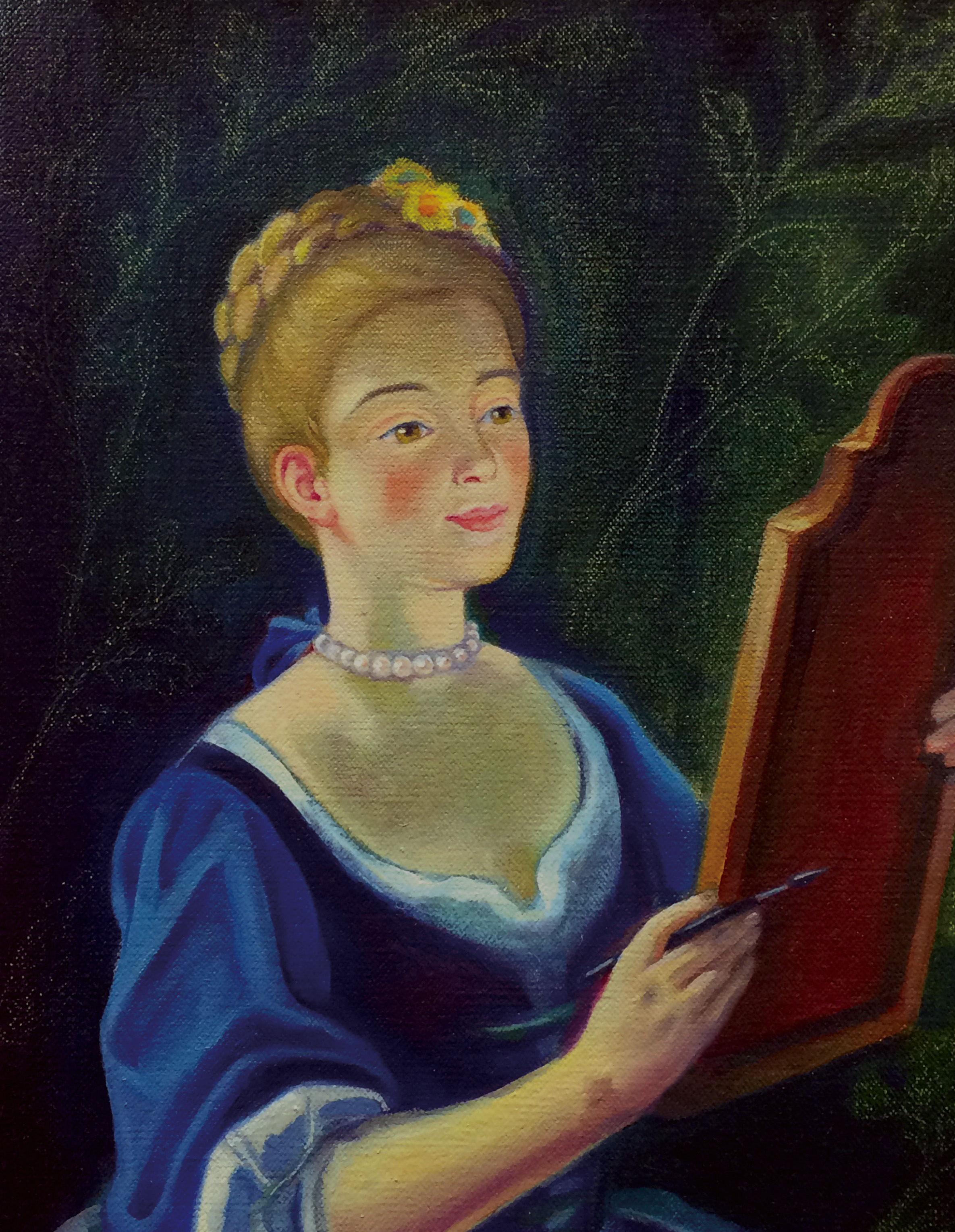 Lady at her canvas