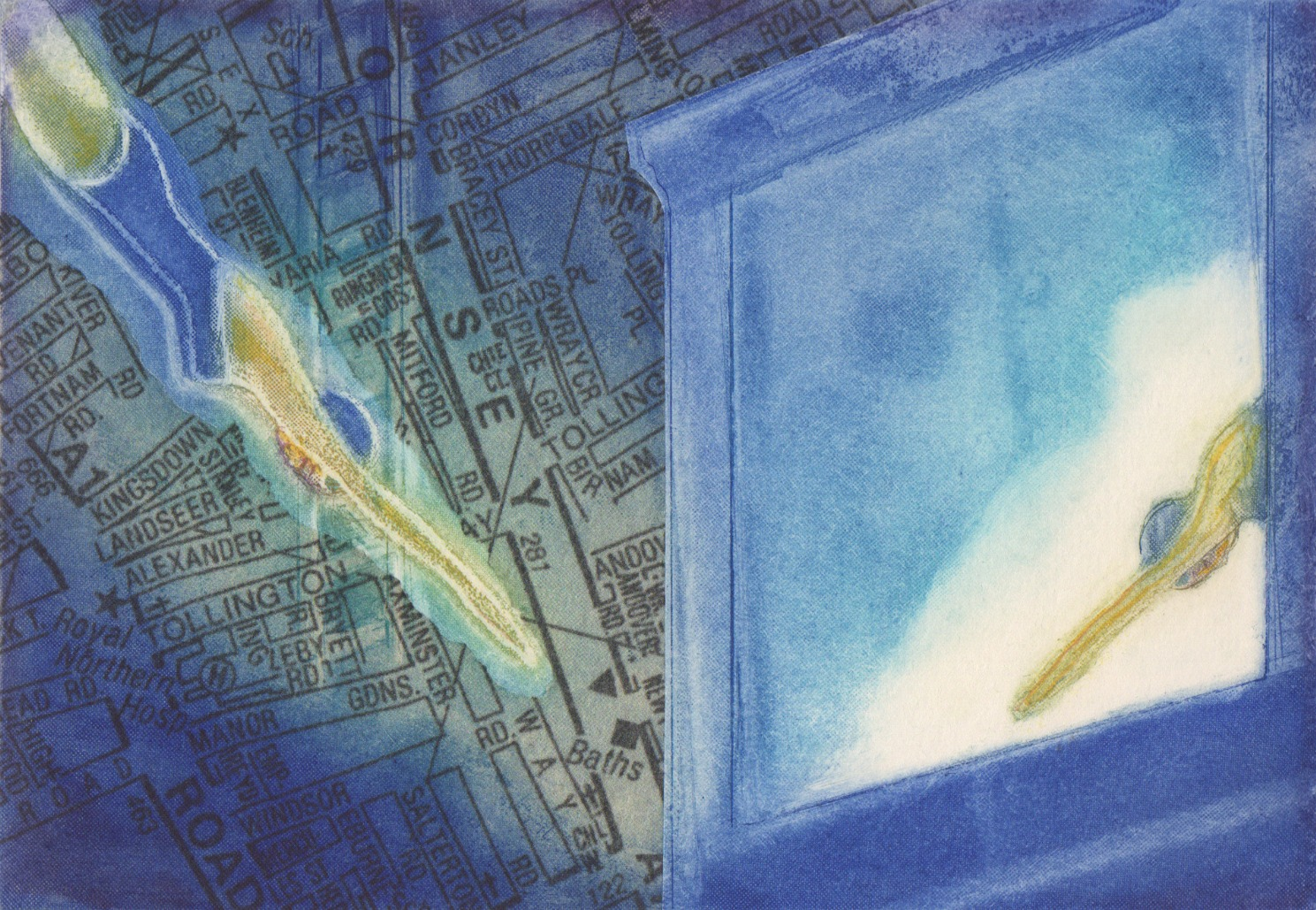 Blue Neon Swimmer