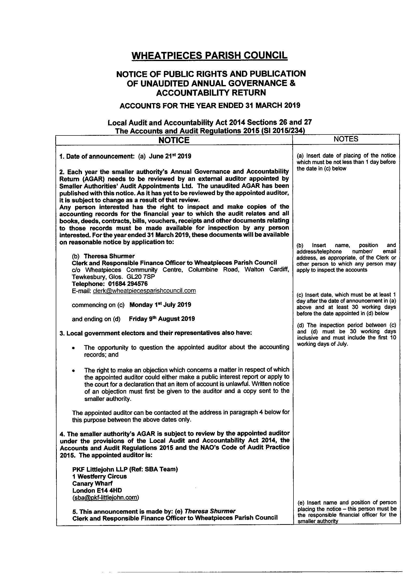 Notice of Public Rights and Publication of Unaudited Annual