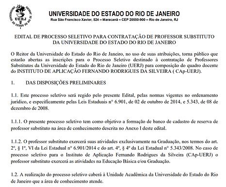 Processo Seletivopara Banco de Cadastro Reserva de Professor Substituto de Francês