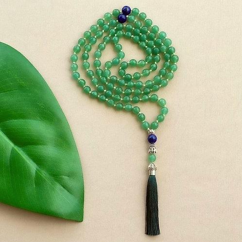 Japamala Quartzo Verde com Lápis-lazúli