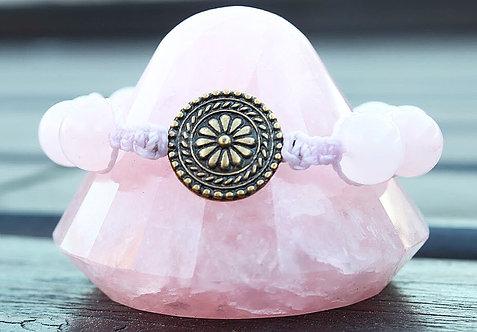 Pulseira Shambala de Quartzo Rosa com Mandala