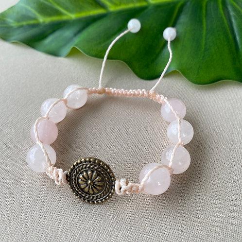 Pulseira Mandala - Quartzo Rosa - Shambala