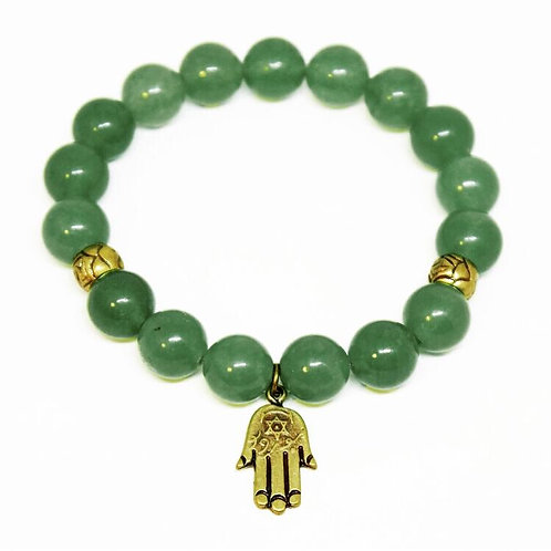 Pulseira Quartzo Verde - Hamsá - 10 mm