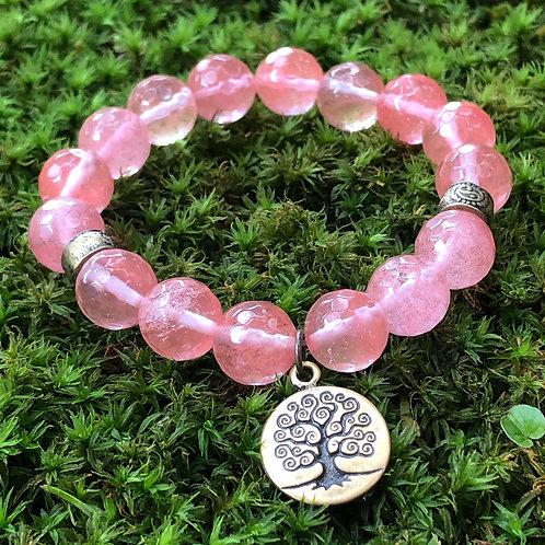 Pulseira Quartzo Cherry com árvore da vida