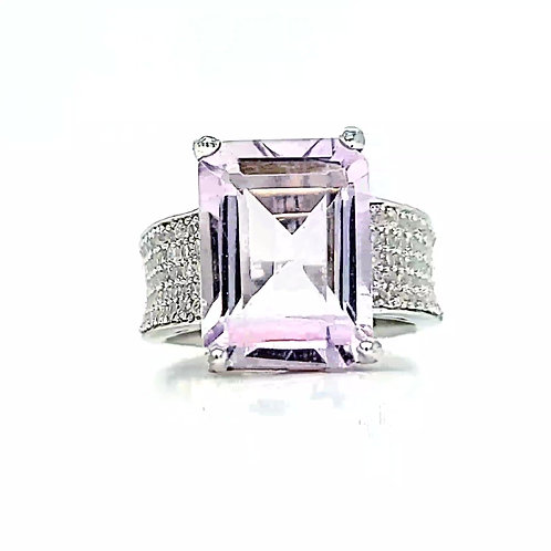 Rare color 7ct Amethyst with White Topaz in Sterling Silver ring