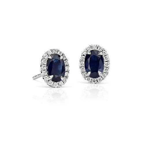 Sapphire and Diamond oval studs 14kt